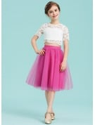 A-Line Knee-length Flower Girl Dress - Tulle/Lace Short Sleeves Scoop Neck