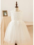 Ball Gown Knee-length Flower Girl Dress - Satin/Lace Sleeveless Scoop Neck With Lace/Appliques