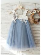 A-Line Knee-length Flower Girl Dress - Tulle/Lace Sleeveless Straps
