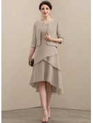 A-Line Scoop Neck Asymmetrical Chiffon Mother of the Bride Dress With Lace Cascading Ruffles
