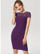 Sheath/Column Scoop Neck Knee-Length Chiffon Lace Cocktail Dress With Ruffle