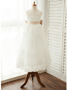 A-Line Scoop Neck Ankle-Length Tulle Junior Bridesmaid Dress With Sash Bow(s)