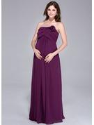 Empire Strapless Floor-Length Chiffon Maternity Bridesmaid Dress With Flower(s) Cascading Ruffles