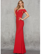 Trumpet/Mermaid Off-the-Shoulder Floor-Length Stretch Crepe Evening Dress With Beading