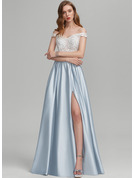 A-Line Off-the-Shoulder Floor-Length Satin Prom Dresses With Beading Sequins Split Front Pockets