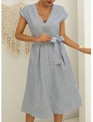 Stripe A-line kjole V-hals Kortermer Midi Avslappet skater Motekjoler