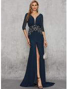 Trumpet/Mermaid V-neck Sweep Train Chiffon Evening Dress With Beading Split Front