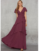 A-Line V-neck Floor-Length Chiffon Evening Dress With Sash