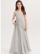 A-Line V-neck Floor-Length Chiffon Junior Bridesmaid Dress With Pockets