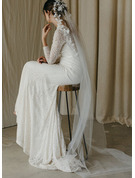 One-tier Cut Edge Chapel Bridal Veils/Cathedral Bridal Veils With Satin Flower/Lace