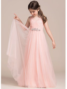 A-Line/Princess Floor-length Flower Girl Dress - Tulle Sleeveless V-neck With Ruffles/Beading/Sequins