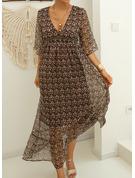 Trykk A-line kjole V-hals Trekvart ermer Maxi Avslappet skater Motekjoler