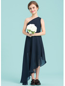 A-Line One-Shoulder Asymmetrical Chiffon Junior Bridesmaid Dress With Ruffle