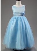 Ball-Gown/Princess Ankle-length Flower Girl Dress - Cotton Blends Sleeveless Scoop Neck With Flower(s)