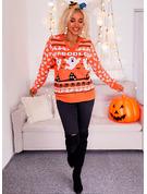 V-hals Lange ermer Regelmessig Halloween Trykk Tekst Avslappet Gensere