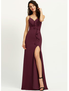 Sheath/Column V-neck Floor-Length Prom Dresses With Ruffle Split Front