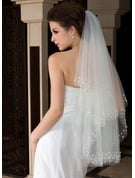 Two-tier Cut Edge Fingertip Bridal Veils With Beading/Faux Pearl