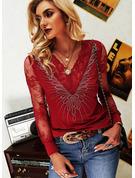 Regelmessig Montert Blonder paljetter Solid Elegant Lange ermer