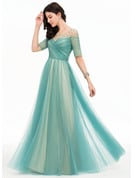 A-Line/Princess Scoop Neck Floor-Length Tulle Prom Dresses With Beading