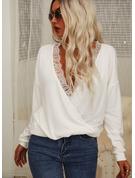 Regelmessig Montert Blonder Solid Avslappet Lange ermer