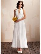 A-Line/Princess Halter Ankle-Length Chiffon Wedding Dress With Ruffle Bow(s)