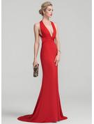 Trumpet/Mermaid V-neck Sweep Train Jersey Prom Dresses