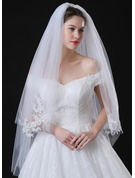 Two-tier Lace Applique Edge Fingertip Bridal Veils With Applique/Lace
