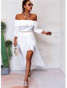 Solid A-line kjole Bare skuldre 1/2-ermer Midi Avslappet Ferie Motekjoler