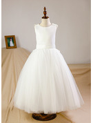 Ball Gown Floor-length Flower Girl Dress - Tulle Sleeveless Scoop Neck With Flower(s)