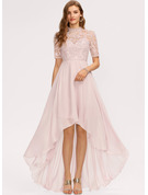 A-Line High Neck Asymmetrical Chiffon Bridesmaid Dress