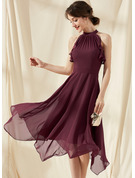 A-Line Scoop Neck Tea-Length Chiffon Cocktail Dress With Cascading Ruffles