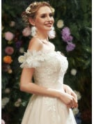 A-Line Sweetheart Floor-Length Prom Dresses With Lace Sequins