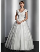 Ball-Gown V-neck Floor-Length Tulle Wedding Dress With Lace Sequins
