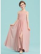 A-Line Scoop Neck Floor-Length Chiffon Junior Bridesmaid Dress With Ruffle Split Front