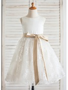 A-Line/Princess Knee-length Flower Girl Dress - Satin/Lace Sleeveless Scoop Neck With Sash