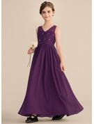 A-Line V-neck Floor-Length Chiffon Lace Junior Bridesmaid Dress With Beading