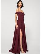 A-Line Off-the-Shoulder Floor-Length Stretch Crepe Evening Dress With Pockets