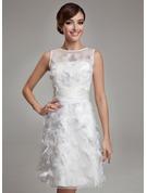 Sheath/Column Scoop Neck Knee-Length Satin Organza Wedding Dress With Feather