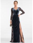 Sheath/Column V-neck Sweep Train Velvet Evening Dress With Split Front