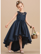 Ball-Gown/Princess Asymmetrical Flower Girl Dress - Satin Sleeveless Scoop Neck With Bow(s)