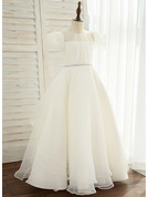 Ball-Gown/Princess Floor-length Flower Girl Dress - Organza/Satin Short Sleeves Scoop Neck With Rhinestone