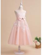A-Line Tea-length Flower Girl Dress - Tulle Sleeveless Scalloped Neck With Lace/Beading/Rhinestone/Back Hole