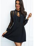Solid A-line kjole Rund hals Lange ermer Midi Lille svarte Party skater Motekjoler