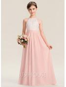 A-Line Floor-length Flower Girl Dress - Chiffon Sleeveless With Back Hole