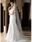 One-tier Chapel Bridal Veils With Lace Applique Edge