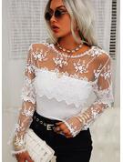 Regelmessig Montert Blonder Solid Elegant Lange ermer