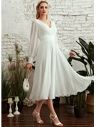 A-Line V-neck Tea-Length Wedding Dress