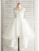 A-Line Asymmetrical Flower Girl Dress - Satin/Tulle/Cotton Sleeveless Bateau