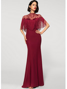 Trumpet/Mermaid High Neck Floor-Length Chiffon Evening Dress With Lace Sequins