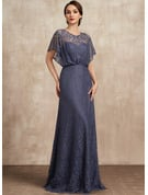 A-Line Scoop Neck Floor-Length Lace Mother of the Bride Dress